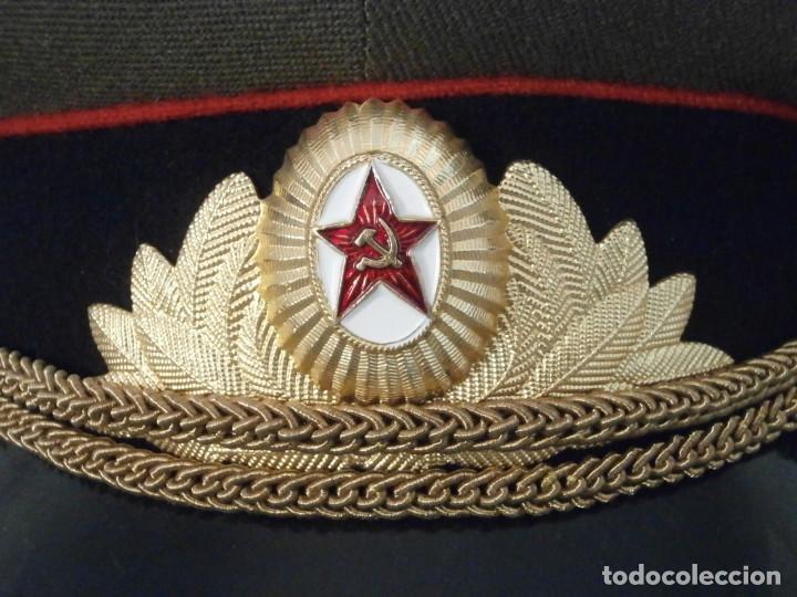 Militaria: Antigua gorra de uso militar soviética de oficial del ejercito rusa Unión Soviética URSS Rusia - Foto 4 - 113297035