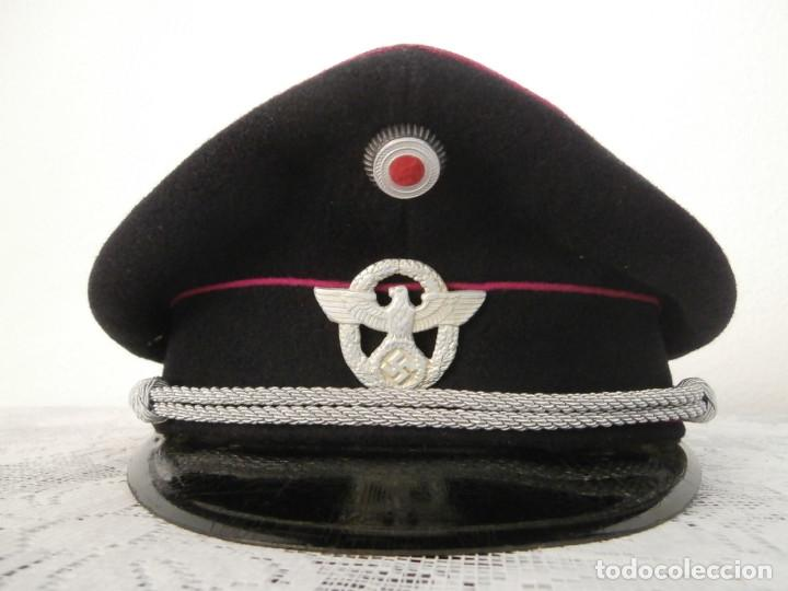 Gorra de plato alemana de oficial policía ejercito alemán de la segunda ii  guerra mundial iii e7482606153