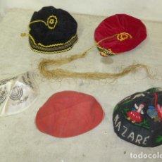Militaria: LOTE DE 5 ANTIGUO GORRO ETNICO, FOLKLORICO O RELIGIOSO. KIPA JUDIA. ORIGINALES.. Lote 121241751