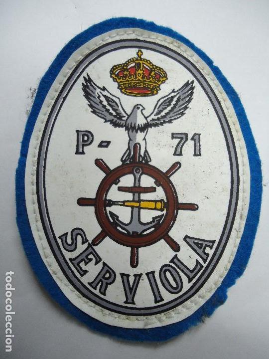 PARCHE DEL PATRULLERO SERVIOLA EN LA CORUÑA AÑOS 70 MIDE 9,5 X 7 CM. ES ORIGINAL (Militar - Otros relacionados con uniformes )