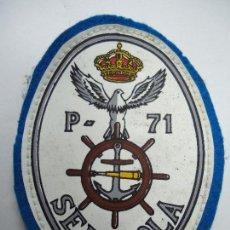 Militaria: PARCHE DEL PATRULLERO SERVIOLA EN LA CORUÑA AÑOS 70 MIDE 9,5 X 7 CM. ES ORIGINAL. Lote 207490543