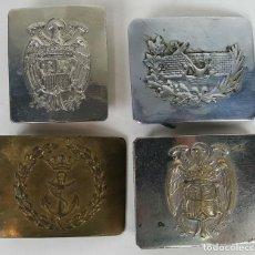 Militaria: COLECCIÓN DE 4 HEBILLAS. POLICIA ARMADA Y MARINA. METAL. CERECEDA. SIGLO XX. . Lote 128216439