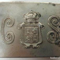 Militaria: HEBILLA. CUERPO DE SEGURIDAD. CASTELLS. BARCELONA. METAL PLATEADO. SIGLO XX. . Lote 128229123