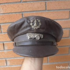 Militaria: * ANTIGUA GORRA DE CUERO DE CONDUCTOR DE INGENIEROS, REPUBLICA Y GUERRA CIVIL. ORIGINAL. ZX. Lote 132092942