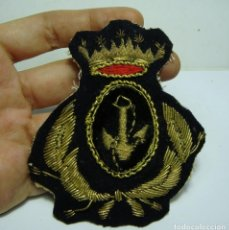 Militaria: GALLETA PARA GORRA DE PLATO. SUBOFICIAL ARMADA. MARINA ESPAÑOLA. BORDADO A MANO CON HILO DE ORO.. Lote 132933038
