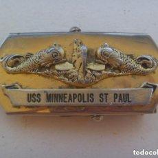 Militaria: MARINA DE GUERRA DE LOS ESTADOS UNIDOS : HEBILLA DEL BARCO USS MINNEAPOLIS ST PAUL . MADE IN USA.. Lote 133870498