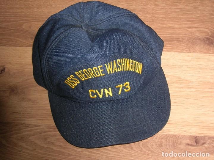 Militaria: GORRA DEL PORTAAVIONES NUCLEAR NORTEAMERICANO GEORGE WASHINGTON. FABRICADA EN USA. ORIGINAL 100%. - Foto 4 - 136201050