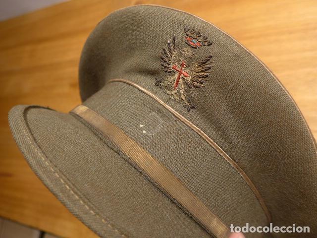 Militaria: Antigua gorra de plato, modelo 43 de visera inclinada como las de Division Azul. Original. T58 - Foto 2 - 141085818