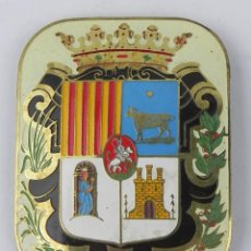 Militaria: ANTIGUA HEBILLA ESMALTADA DE ALCALDE O CONCEJAL DE TERUEL, MIDE 8 X 6,2 CMS.. Lote 143595126