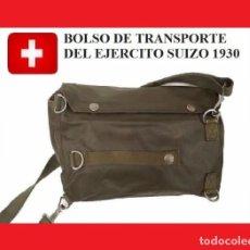 Militaria: BOLSO DE TRANSPORTE DEL EJERCITO SUIZO 1930 MUY RARO EN LEDEROL (R 004L). Lote 115947531
