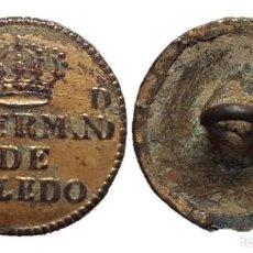 Militaria: BOTÓN GUERRA DE LA INDEPENDENCIA,HERMANDAD DE TOLEDO, 15 MM.. Lote 143877554