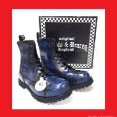Militaria: BOOTS & BRACES TALLA 40 POLIDO BLUE NUEVO 8 AGUJEROS BOTAS DE CUERO INGLATERRA STEEL NUEVO . Lote 145957634