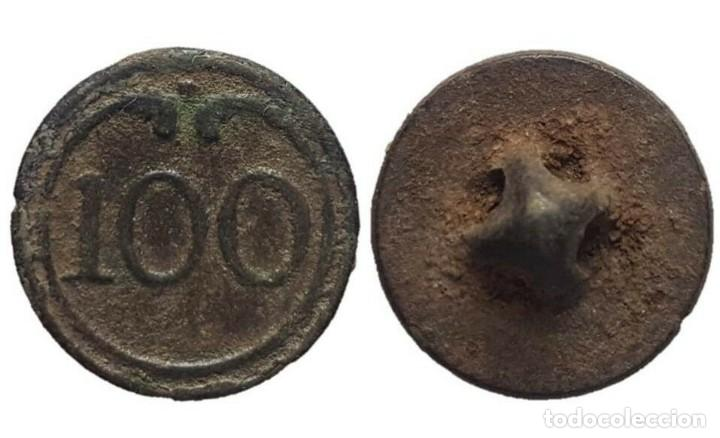 BOTÓN MILITAR, REGIMIENTO DE LÍNEA 100, GUERRAS NAPOLEÓNICAS, 15 MM. (Militar - Botones )