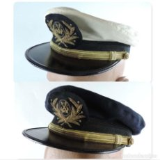Militaria: ANTIGUA GORRA DE OFICIAL DE LA MARINA MERCANTE, MIDE DE PERIMETRO INTERIOR 56 CMS. CON FUNDA FLANCA.. Lote 151372882