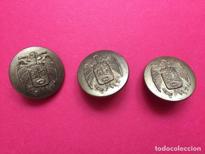 ANTIGUOS 3 BOTONES METÁLICOS (POLICÍA MUNICIPAL MADRID; 1950'S) ÁGUILA ¡COLECCIONISTA! ¡ORIGINALES! (Militar - Botones )