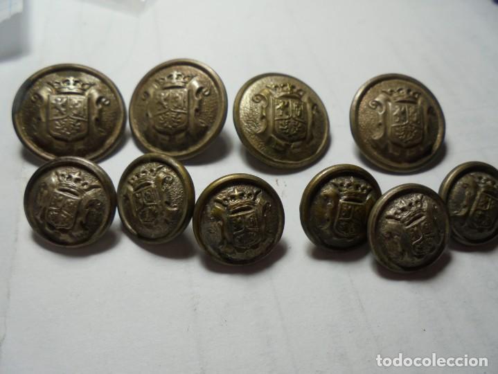 MAGNIFICOS 10 BOTONES ANTIGUOS AYUNTAMIENTO DE MADRID,EPOCA REPUBLICA (Militar - Botones )