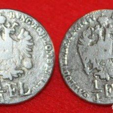 Militaria: 2 BOTONES METALICOS EMULANDO MONEDAS 1/4 FLORIN IMPERIO AUSTRO-HUNGARO 1859. Lote 170557720
