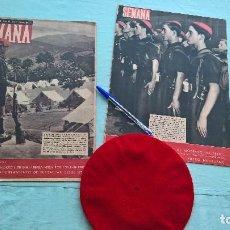 Militaria: OO.JJ , 1940 ,ORGANIZACION JUVENIL DE FALANGE , BOINA ROJA Y REVISTAS SEMANA. Lote 170662130
