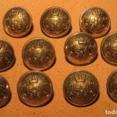 Militaria: 11 BOTONES ESPAÑOLES CUERPO SEGURIDAD, GUARDIA DE ASALTO, SEMI ESFÉRICOS, METAL PLATEADO, 1908/1931.. Lote 173662483