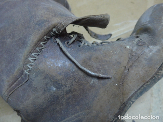 Militaria: * Antigua pareja de botas marrones republicanas de la guerra civil, original. ZX - Foto 10 - 179950391