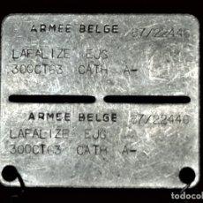Militaria: PLACA PERSONAL IDENTIFICATIVA MILITAR BELGA CON CADENA .-BELGICA 1963. Lote 182408316