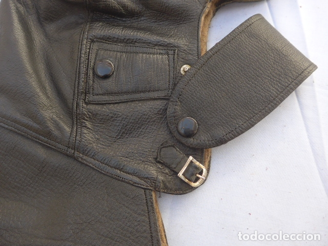 Militaria: * Antiguo gorro de cuero de piloto aviador o motorista, guerra civil. ZX - Foto 4 - 182788542