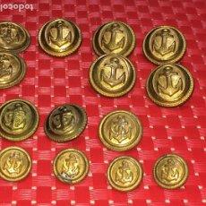 Militaria: LOTE DE 14 BOTONES MARINEROS - BRONCE - ANTIGUOS. Lote 182906466