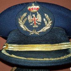 Militaria: ANTIGUA GORRA DE PLATO GRAN GALA EJÉRCITO DE TIERRA OFICIALES COLOR AZUL MARINO. Lote 184647420
