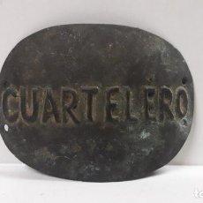 Militaria: ANTIGUA PLACA DE CUARTELERO - TROQUELADA . POSIBLEMENTE EPOCA DEL REINADO ISABEL II - ALFONSO XIII. Lote 185211576