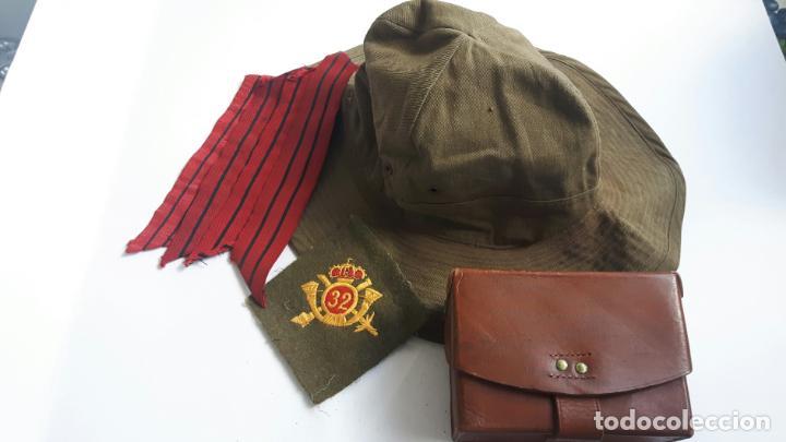 BONITO CONJUNTO DE UN CABO ÉPOCA DE MARRUECOS. CHAMBERGO, CARTUCHERA, GALONES Y PARCHE DE CAPOTE MAN (Militar - Otros relacionados con uniformes )