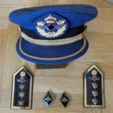Militaria: LOTE DE GORRA ,HOMBRERAS Y ROMBOS DE OFICIAL DE AVIACIÓN. EJERCITO DEL AIRE.INGENIEROS. Lote 194704996