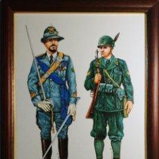 Militaria: LÁMINA ENMARCADA CON UNIFORMES MILITARES ALPINOS DE ALBANIA (1941) Y RUSIA (1942). Lote 194996576
