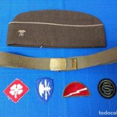 Militaria: LOTE US ARMY II GUERRA MUNDIAL. GORRILLO GARRISON, CINTURON E INSIGNIAS.. Lote 195042225
