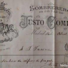 Militaria: FACTURA CROMOLITOGRAFIADA DE SOMBRERO DE ALFEREZ DE FRAGATA, AÑO 1.903. Lote 198567996