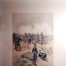 Militaria: LÁMINA DE LA BATERÍA DE ARTILLERÍA A CABALLO, ILUSTRADA POR JEAN BAPTISTE ÉDOUARD DETAILLE EN 1887. . Lote 201843461