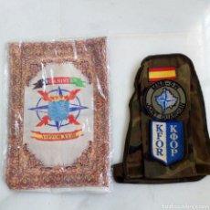 Militaria: LOTE MILITAR LEGION ESPAÑOLA OTAN BRAZALETE KOSOVO Y ALFOMBRILLA AFGANISTÁN. Lote 203470395