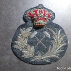 Militaria: INGENIERO DE MINAS PARCHE BORDADO DE GORRA DE PLATO AÑOS 30 40. Lote 212329478