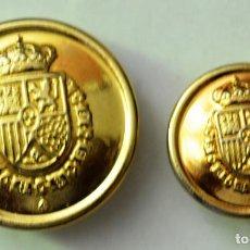 Militaria: BOTONES GUARDIA REAL FVI LISOS DORADOS 23 Y 17 MM. Lote 213917853