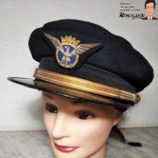 Militaria: GORRA DE PILOTO DE AVIACIÓN CIVIL - ESPAÑA - (AÑOS 50) - CARMEN PUIG. Lote 220847143