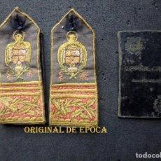 Militaria: (JX-201140)HOMBRERAS Y CARNET DE OFICIAL DE 1ª DEL CUERPO DE CORREOS DE ZARAGOZA ,AÑO 1940.. Lote 223732333