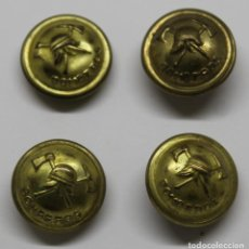 Militaria: 4 BOTONES BOMBERO ANTIGUOS FABRICACIÓN NACIONAL. Lote 224773431