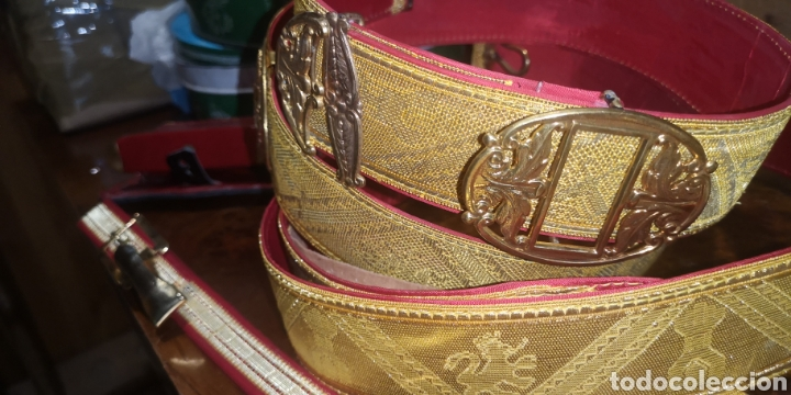 Militaria: Conjunto de bandolera cinturón colgador de sable y. Portacargadores - Foto 6 - 230897185