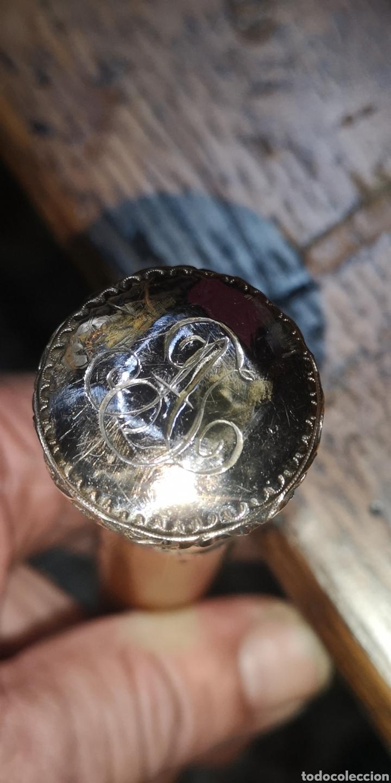 Militaria: Antiguo bastón de mando realizado en oro bajo la empuñadura Malaca y la contera plata y acero - Foto 2 - 240496025