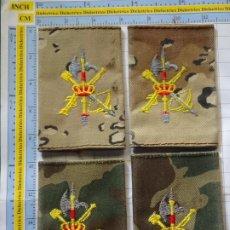 Militaria: 2 PAREJAS MANGUITOS HOMBRERAS MILITARES LEGIONARIOS. LEGIÓN ESPAÑOLA. CAMUFLAJE BOSCOSO Y ÁRIDO. Lote 244027325