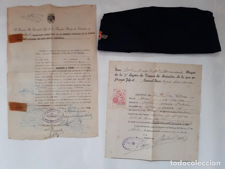 ANTIGUO PLATANO DE PASEO AVIACION AZUL GORRA EJERCITO ESPAÑOL CON DOCUMENTOS 3ª LEGION TROPAS RV (Militar - Boinas y Gorras )