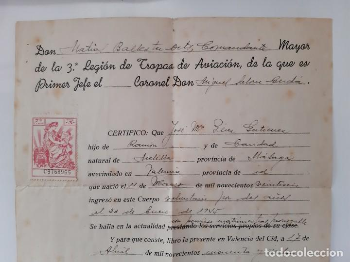 Militaria: ANTIGUO PLATANO DE PASEO AVIACION AZUL GORRA EJERCITO ESPAÑOL CON DOCUMENTOS 3ª LEGION TROPAS RV - Foto 2 - 246005705