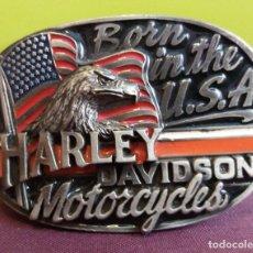 Militaria: HEBILLA VINTAGE PARA CINTURÓN DE MOTOS HARLEY DAVIDSON - BORN IN U.S.A. USA - 1991 - NUMERADA. Lote 246048700