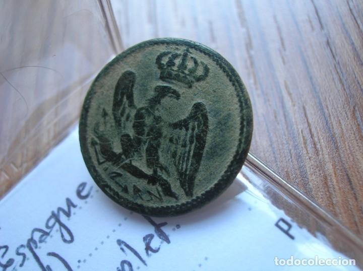 Militaria: MUY BELLO BOTON COMPLETO DE LA GUARDIA IMPERIAL. GUERRA DE LA INDEPENDENCIA. - Foto 3 - 248598625