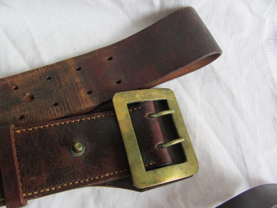 Militaria: Antiguo cinturón de cuero equitación monteria infantería? - Foto 2 - 252617250