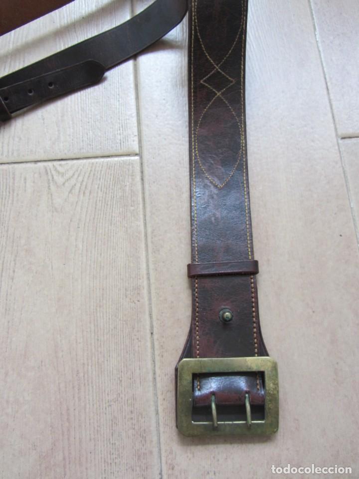 Militaria: Antiguo cinturón de cuero equitación monteria infantería? - Foto 7 - 252617250